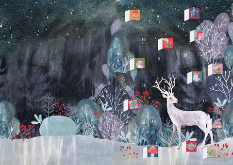 Silver Stag Advent Calendar Card