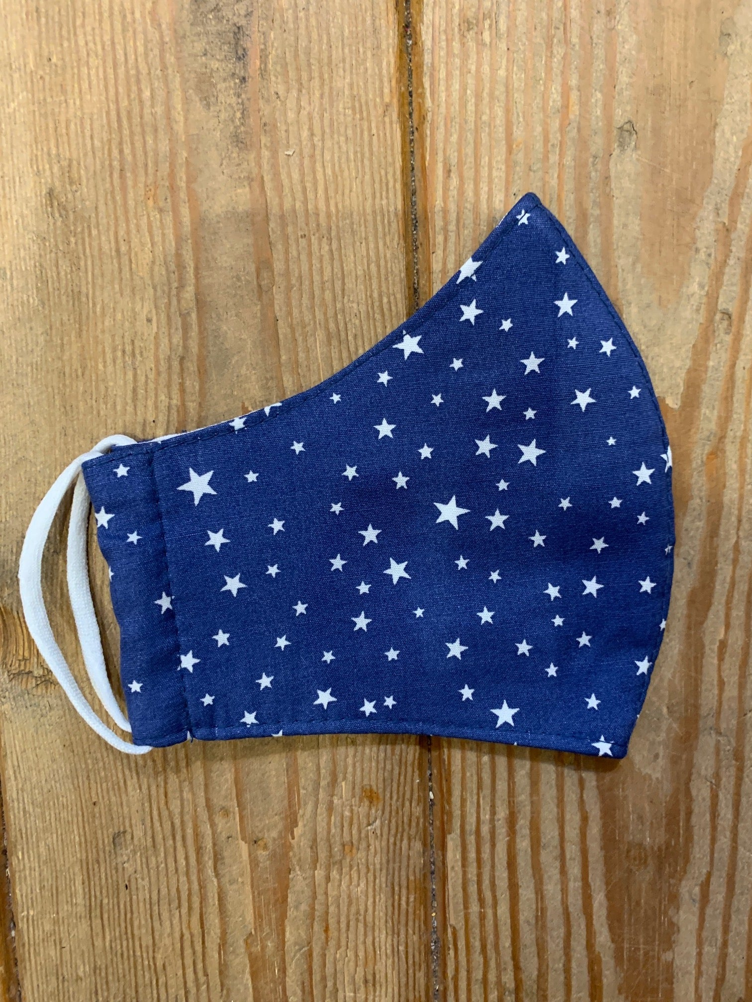 Mid Blue with White Stars Face Covering