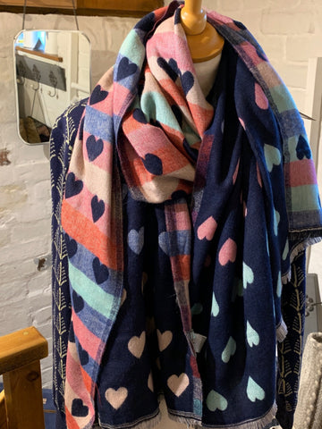 Navy Hearts Reversible Scarf/Wrap