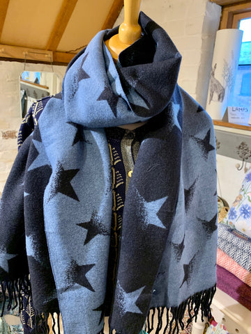 Large Reversible Scarf/Wrap in Navy and Soft Blue