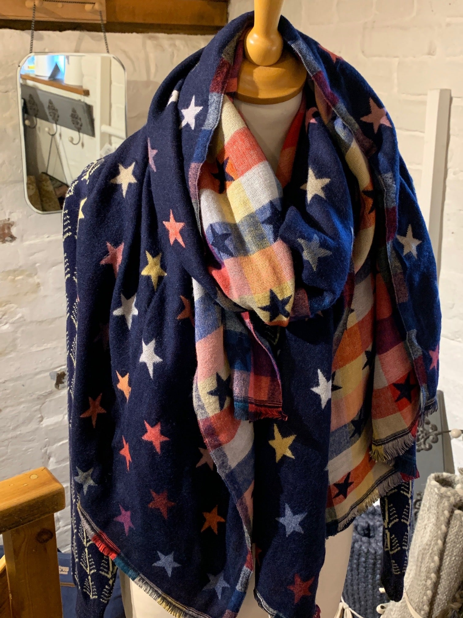Navy Stars Reversible Scarf/Wrap