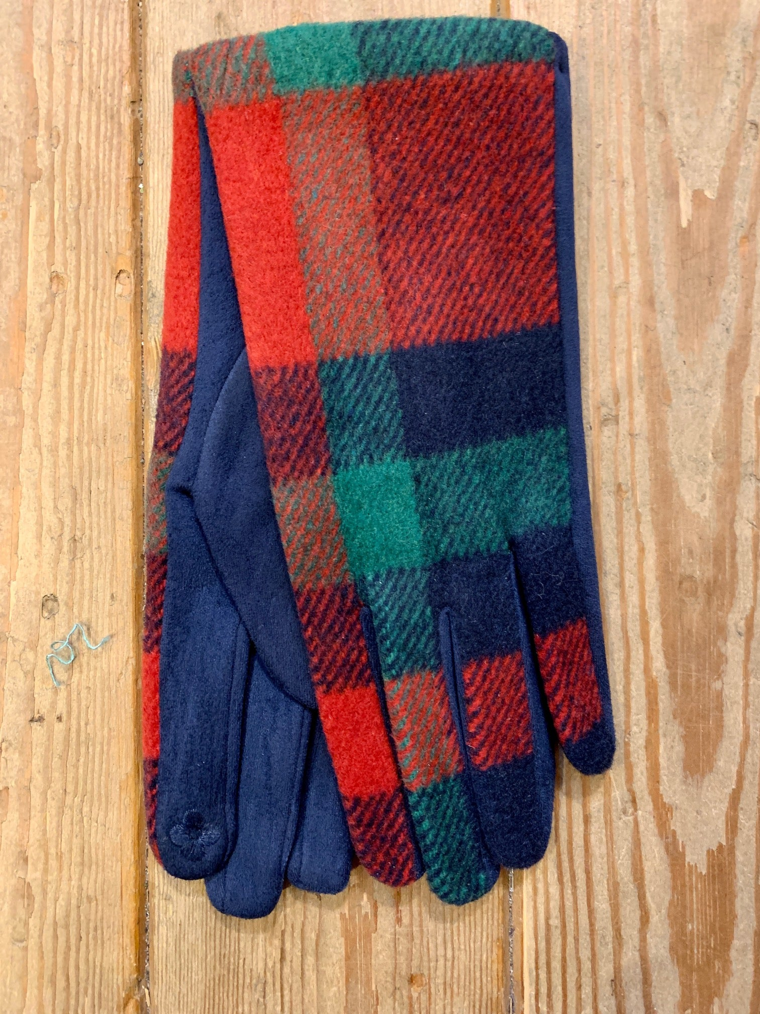Navy, Red, Green Tartan Gloves