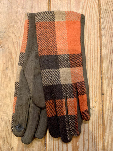 Orange Tartan Gloves