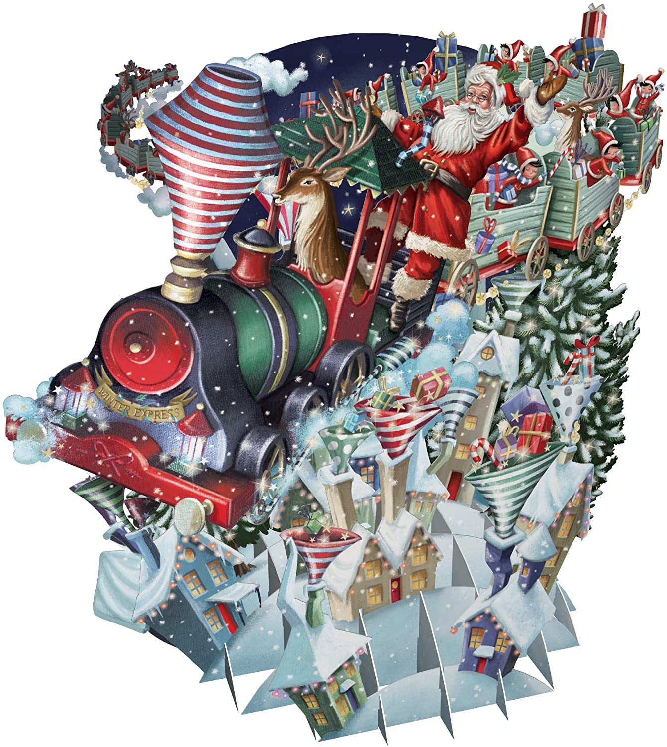 Santa's Express Top of The World 3D Pop-Up Christmas Card