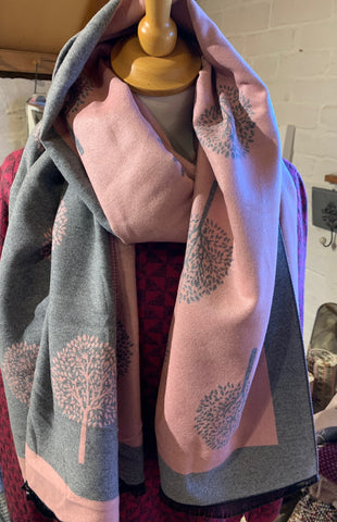 Trees Pink and Grey Reversible Scarf