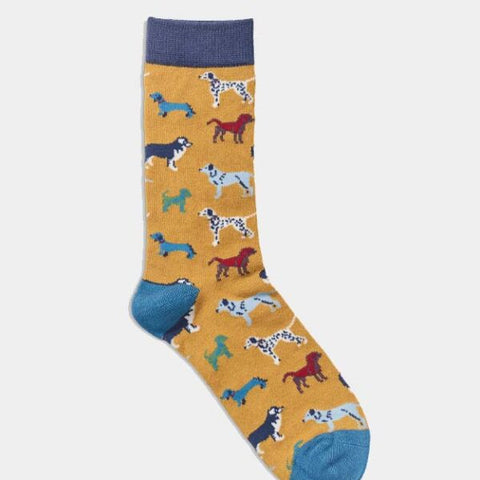 Womens Socks – Dogs Mustard