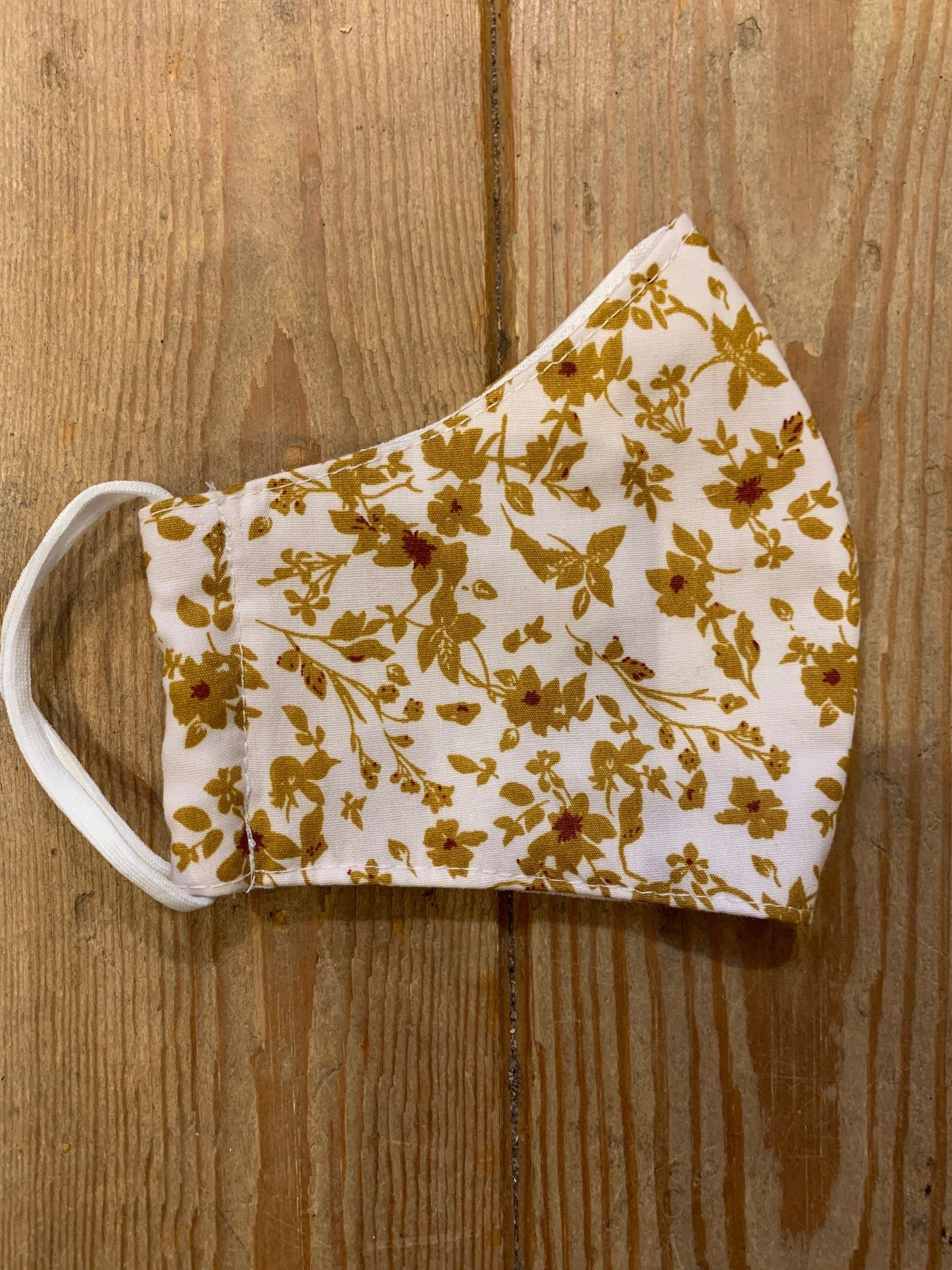 White with Mustard Flowers Face Covering