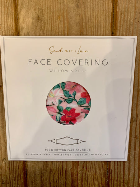 Willow and Rose Pink Floral Face Covering