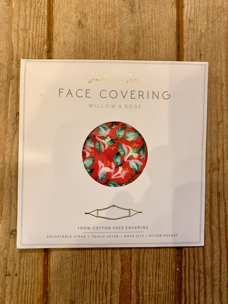 Willow and Rose Red Floral Face Covering