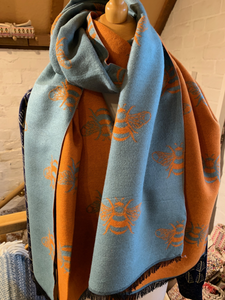 Orange and light teal Reversible Bee Scarf