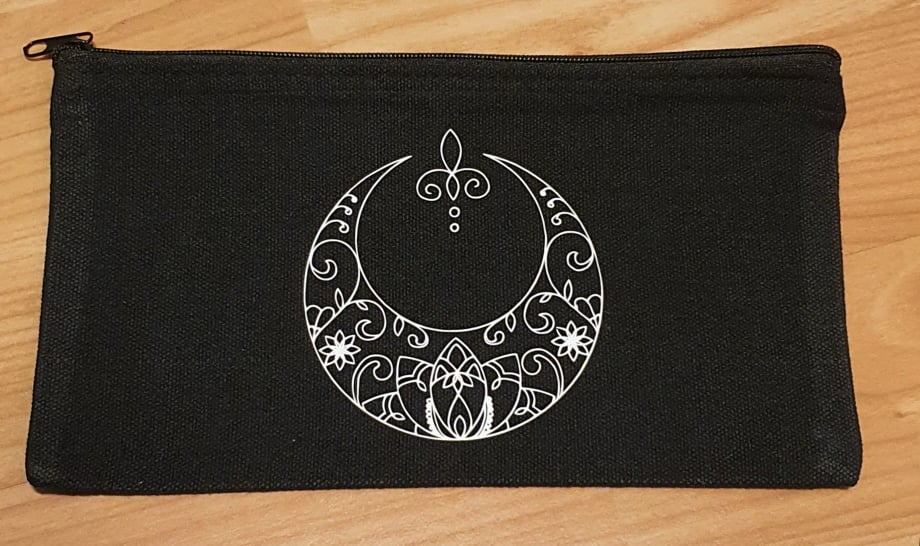 Mandala Crescent Moon Canvas Pouch