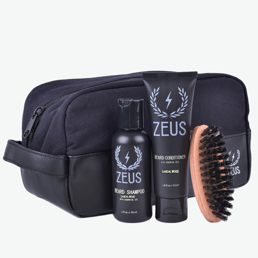 Zeus Travel Beard Care Dopp Kit, Sandalwood