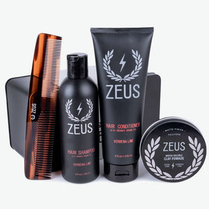 Zeus Hair Care Grooming Kit, Clay Pomade
