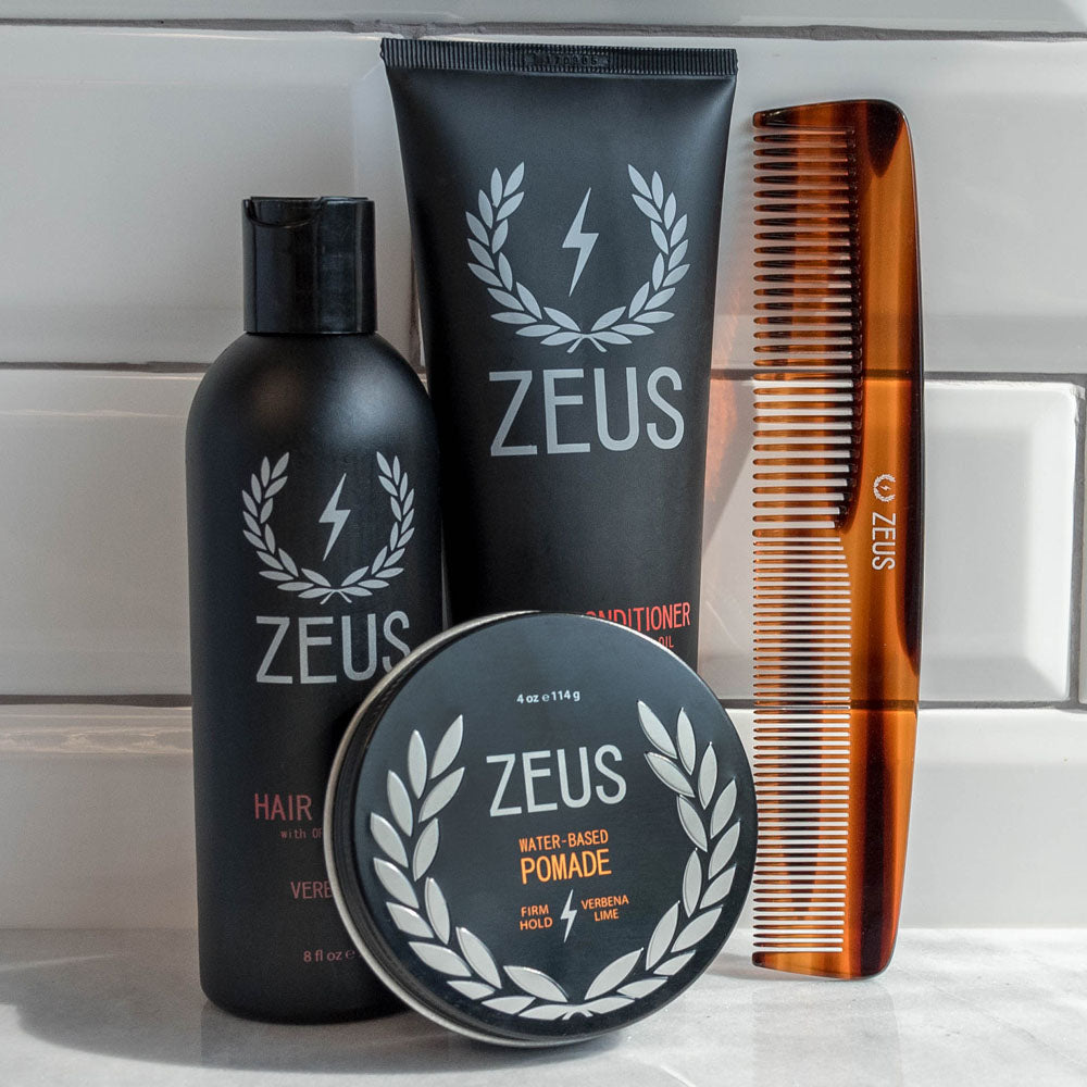Zeus Hair Care Grooming Kit, Firm Hold Pomade