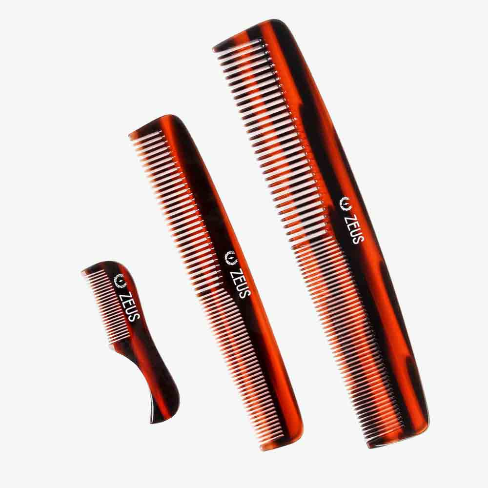 Zeus Handmade Saw-Cut Cellulose Acetate Comb Set, Traditional