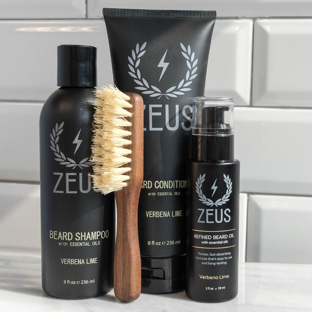 Zeus Vegan Beard Care Set, Handled Mustache & Beard Brush