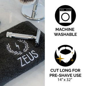 Zeus Cotton Steam Towel, Black