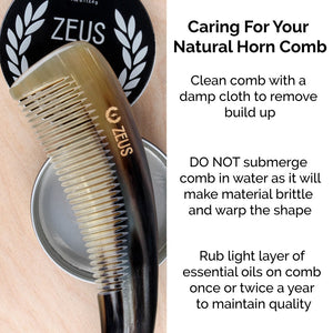 Zeus Natural Horn Medium Tooth Beard Comb and Beard Shaper - I41