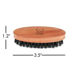 Zeus Pear Wood Beard Brush Set - 100% Boar Bristle - Soft
