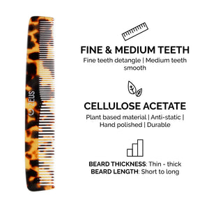 Zeus Handmade Saw-Cut Cellulose Acetate Comb Set, Tortoiseshell