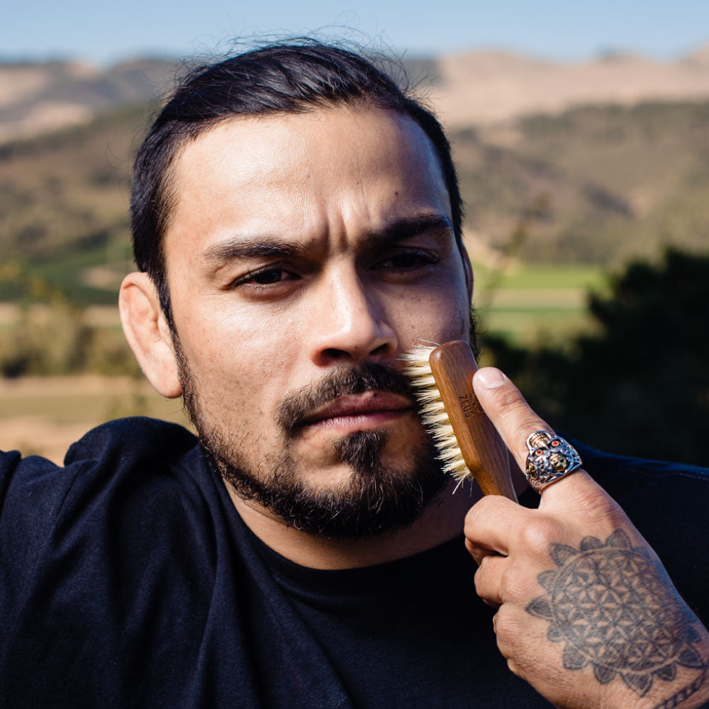 Zeus Vegan Handled Mustache & Beard Brush, 100% Natural Tampico Fiber Bristle, Firm - J73