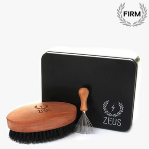 Load image into Gallery viewer, Zeus Oval Military Brush with Bristle Cleaner - 100% Boar Bristle - Firm