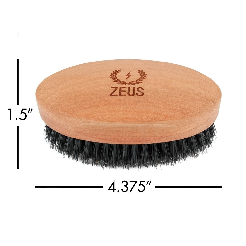 Zeus Oval Military Brush with Bristle Cleaner - 100% Boar Bristle - Firm