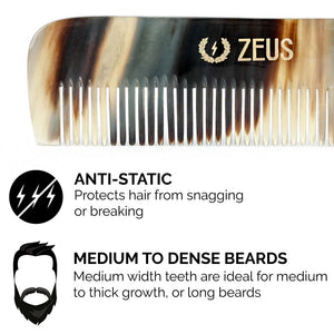 Zeus Natural Horn Medium Tooth Beard Comb in Deluxe Tin