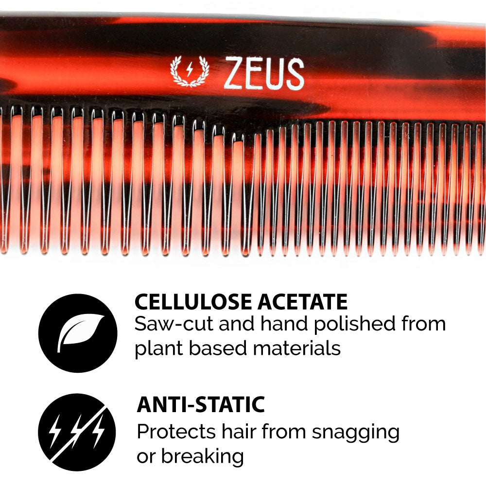 "Zeus Acetate Hair Comb, 7.5"" Traditional - Y11"