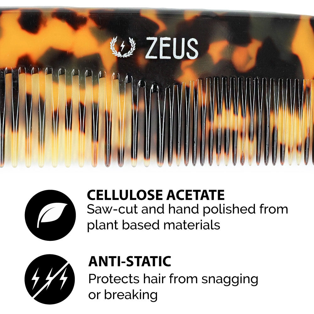 "Load image into Gallery viewer, Zeus Acetate Hair Comb, 7.5"", Tortoiseshell - Y12"