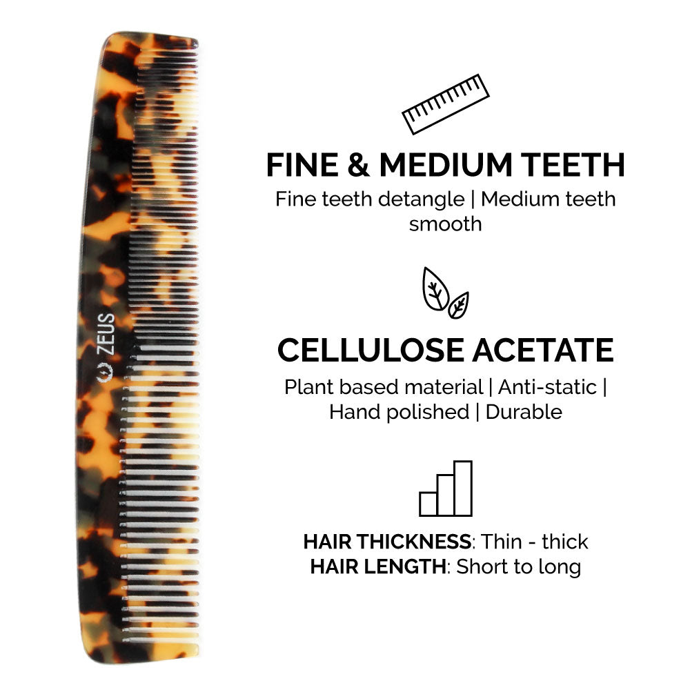 Load image into Gallery viewer, Zeus Handmade Saw-Cut Cellulose Acetate Comb Set, Tortoiseshell