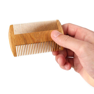 Zeus Organic Sandalwood Double-Sided Beard Comb with Leather Sheath - R31