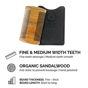Zeus Firm Pocket Beard Brush and Double Sided Sandalwood Comb Bundle