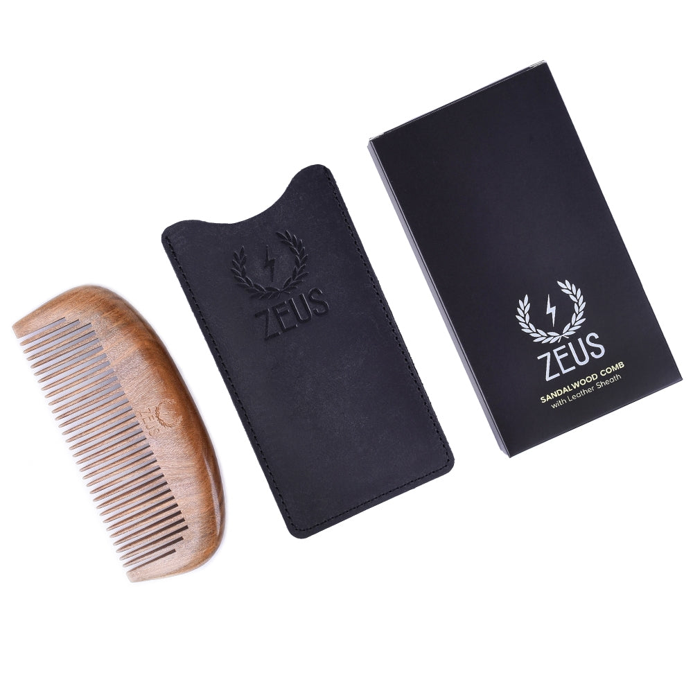 Zeus Organic Sandalwood Beard Comb with Leather Sheath - S31