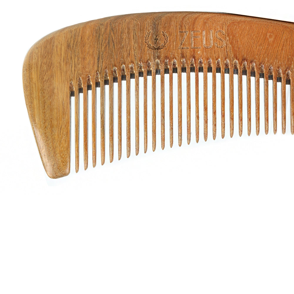Large Curved Sandalwood Beard Comb with Leather Sheath - 12 Units - Case