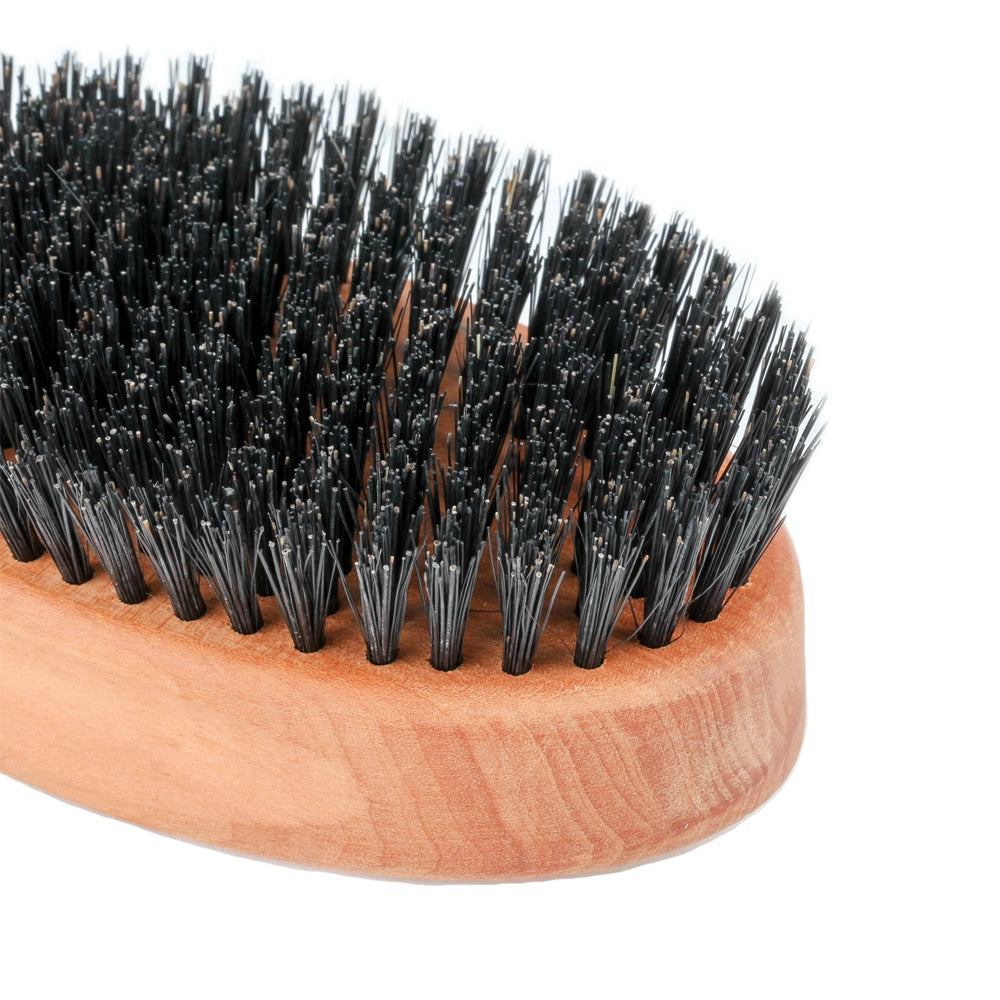 Zeus Pear Wood Beard Brush Set - 100% Boar Bristle - Firm