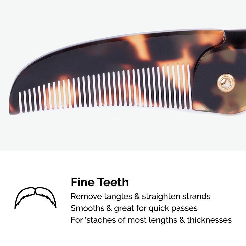 Load image into Gallery viewer, Zeus Folding Mustache Comb,Tortoiseshell - K12