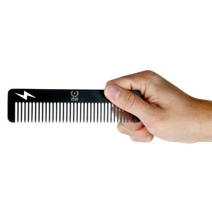 Zeus Stainless Steel Comb Thunderbolt - Powder Coated Black - T22