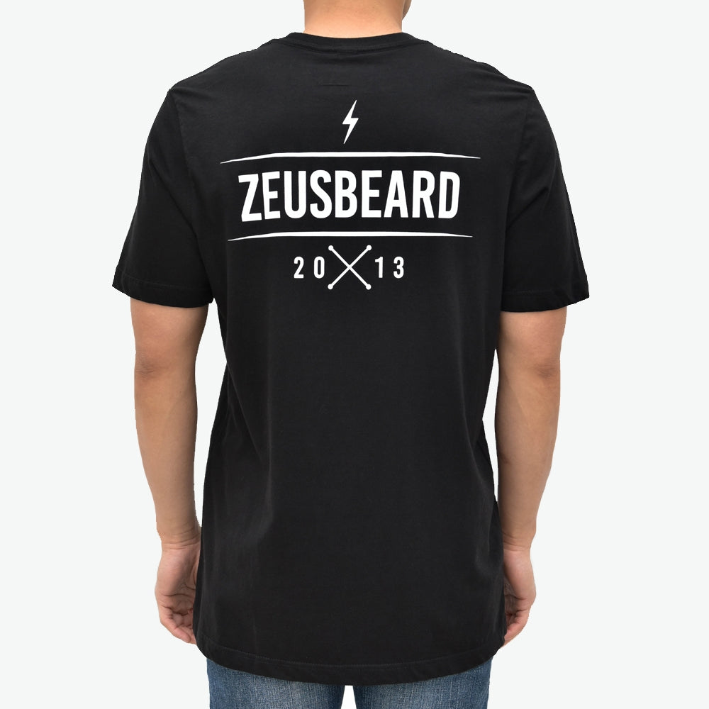 Zeus 100% Cotton, Bolt Graphic Tee - Black