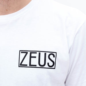 Zeus 100% Cotton, Logo Curved Hem Graphic Tee- White