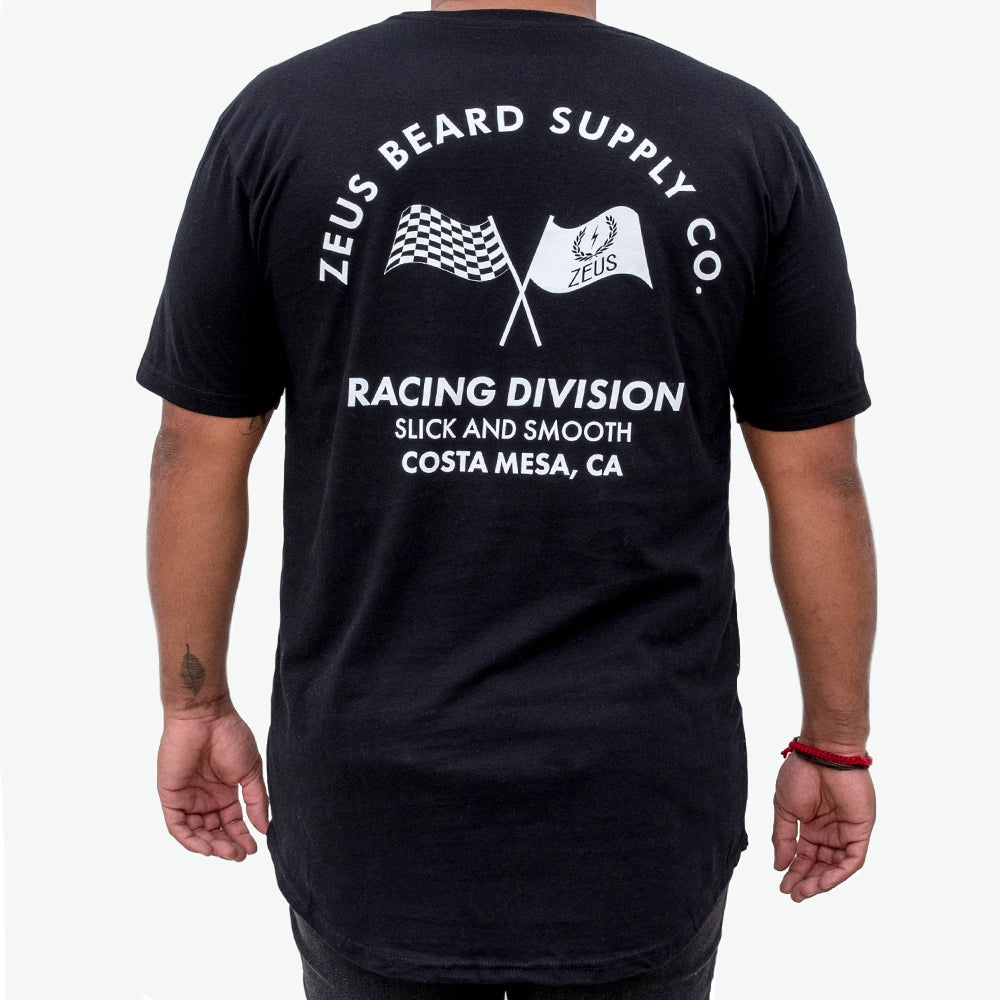 "Zeus 100% Cotton, ""Racing Division"" Curved Hem Graphic Tee- Black"