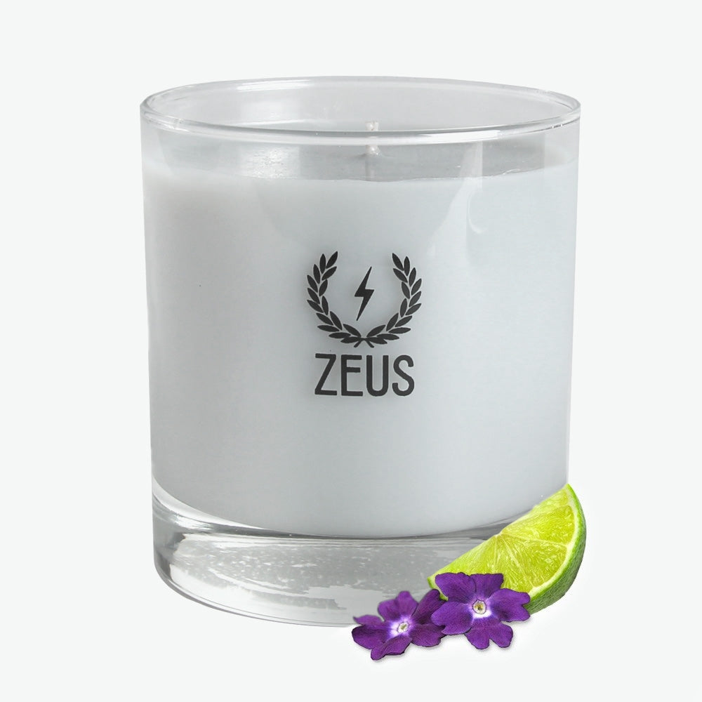 Zeus Scented Soy Blend Whiskey Glass Candle, Verbena Lime