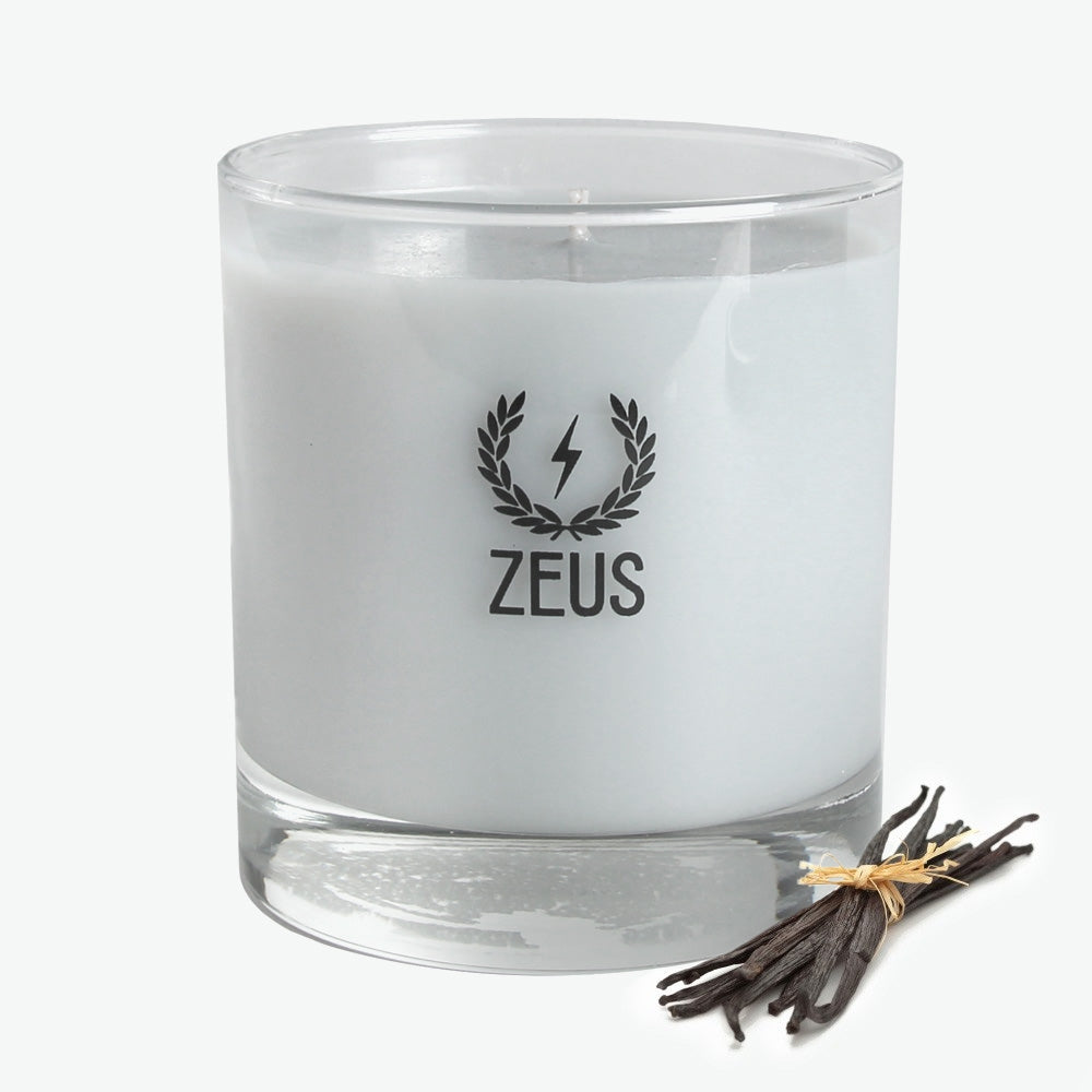 Zeus Scented Soy Blend Whiskey Glass Candle, Vanilla Rum