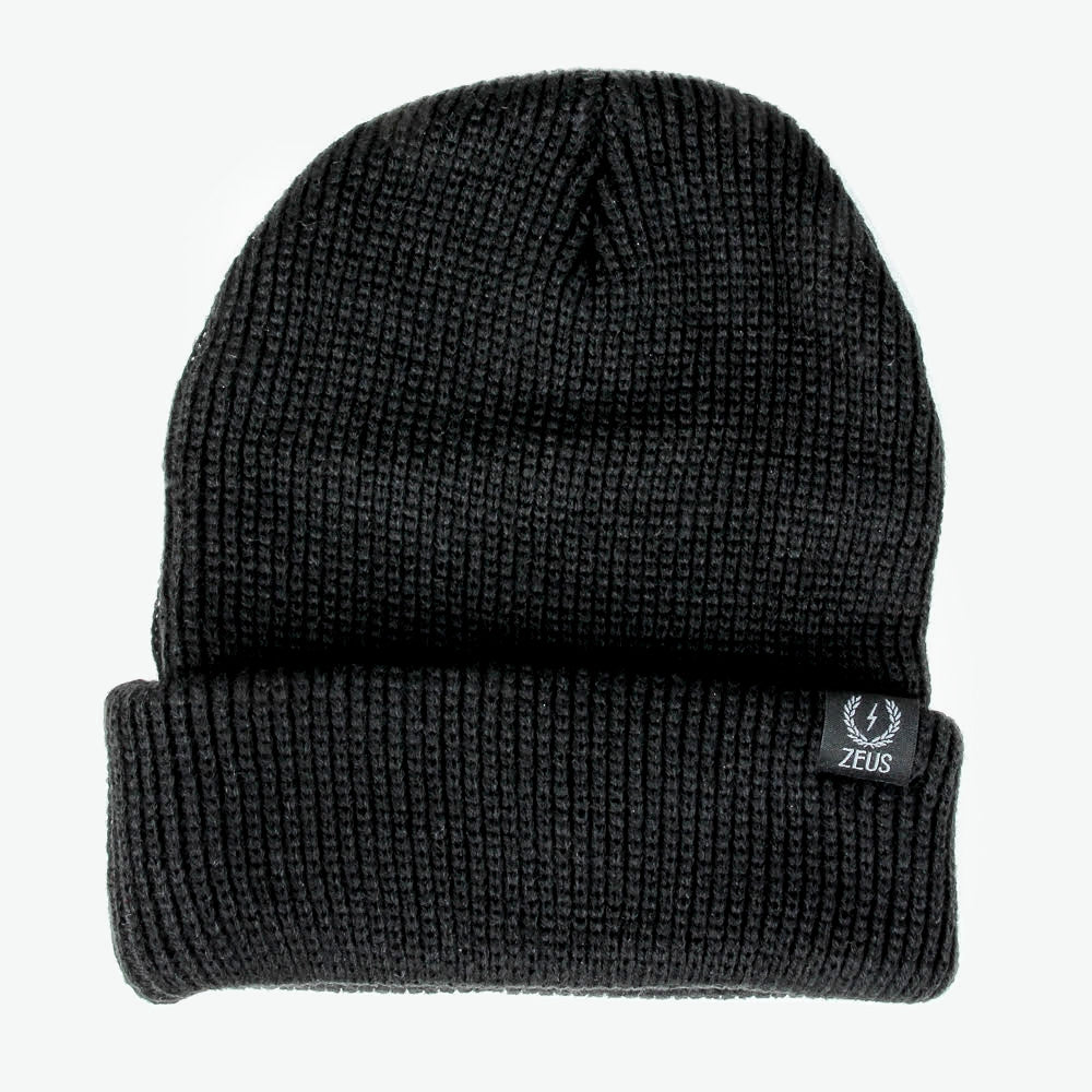 Zeus Ribbed Knit Beanie, Black