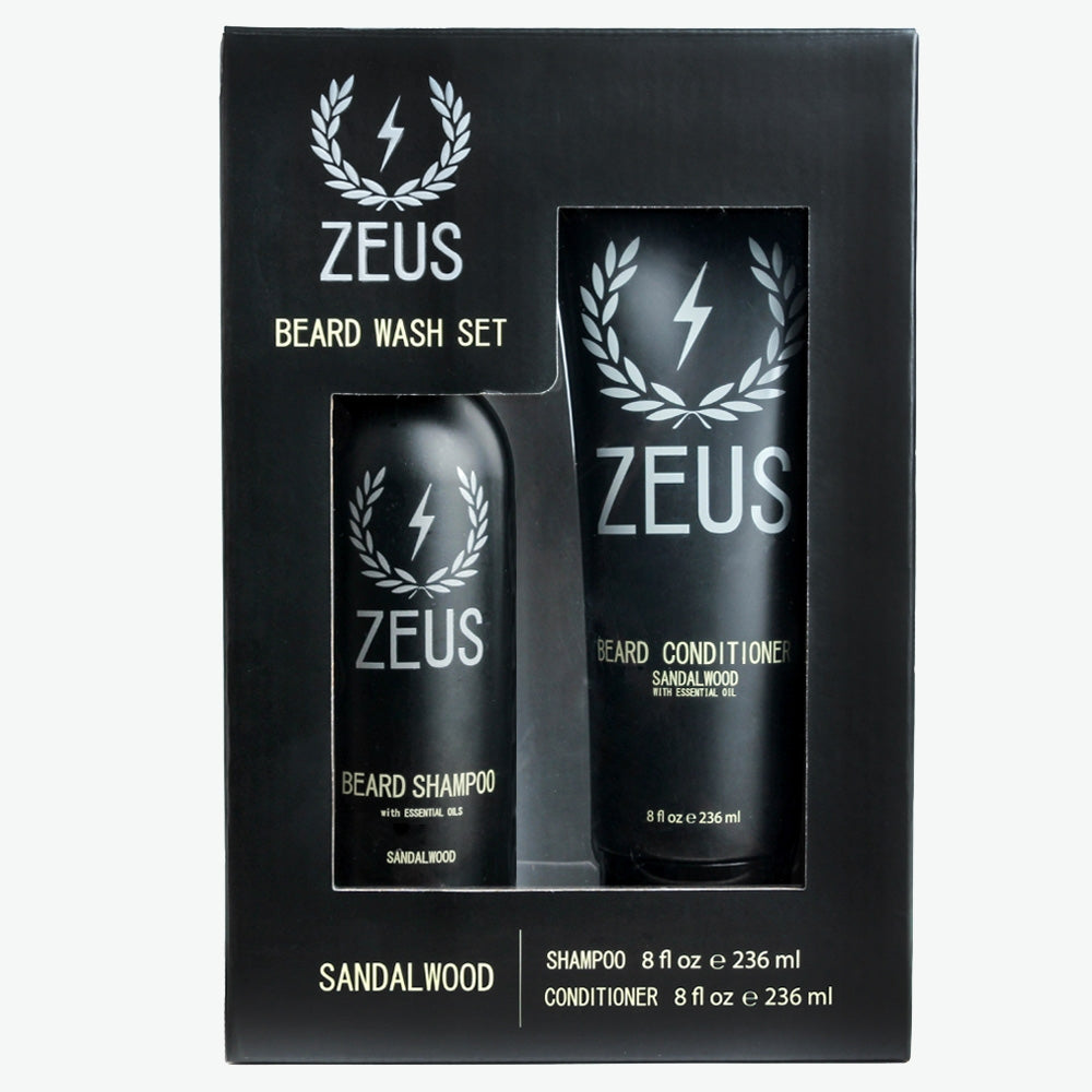 Beard Shampoo and Conditioner Set (8 fl oz), Zeus Sandalwood
