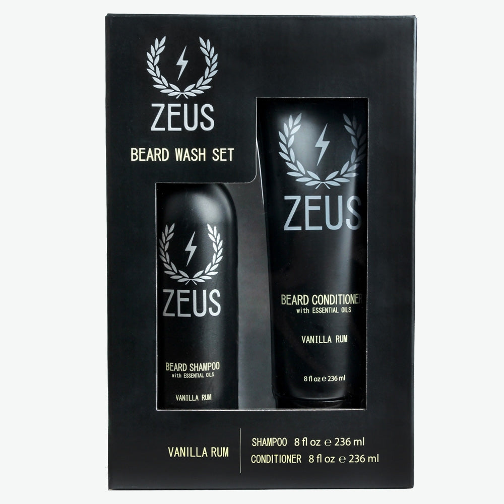 Beard Shampoo and Conditioner Set (8 fl oz), Zeus Vanilla Rum