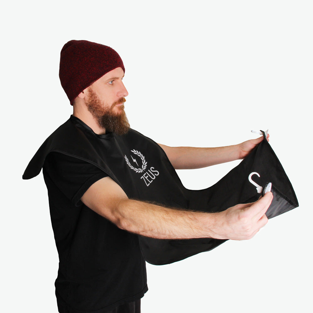Load image into Gallery viewer, Zeus Facial Hair Trimming Catcher Bib Beard Apron, Black