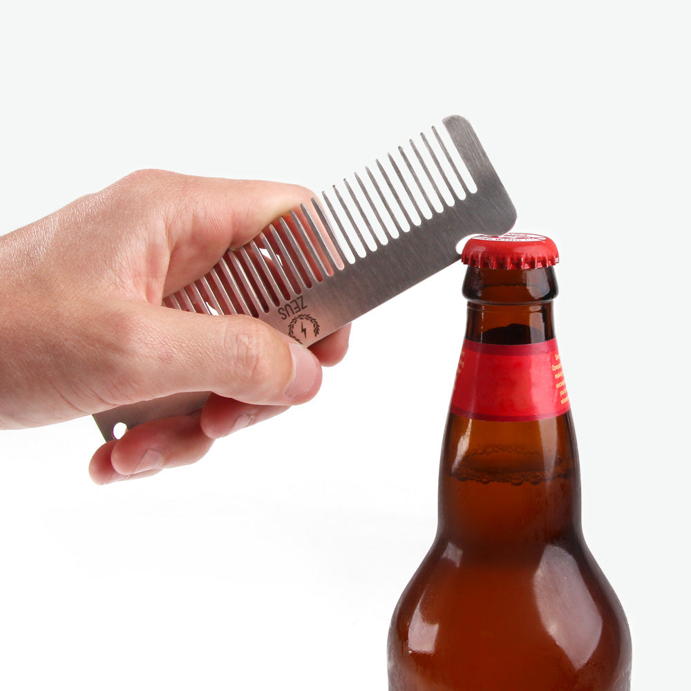 *Zeus Stainless Steel Comb with Bottle Opener in Leather Sheath