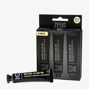 Zeus Mustache Styling Wax, Mega Hold - 3 Pack