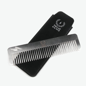 *Zeus Stainless Steel Comb Thunderbolt in Leather Sheath